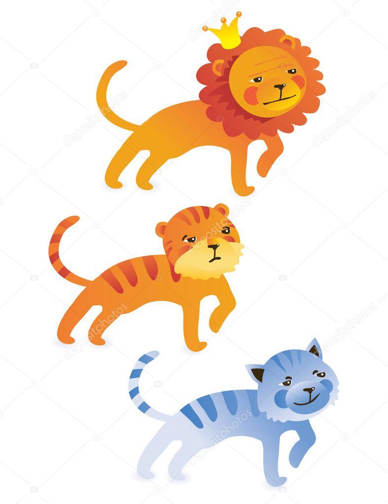 卡通狮子, 老虎, 猫-矢量图