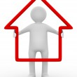 Man hold house in hands. Isolated 3D ima — Stock Photo