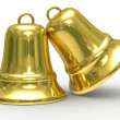 Two gold hand bell on white background. - Stock Photo