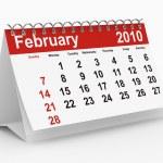 2010 year calendar. February — Stock Photo