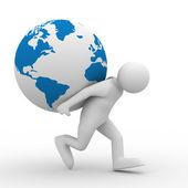 Men carry globe on back — Foto Stock