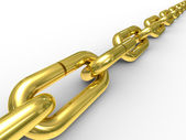Gold chain on white background — Stock Photo