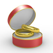 Red box with two wedding rings — Stock Photo