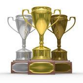 Cups of winner on white background — Foto de Stock