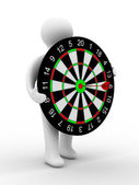 Man hold darts on white background — Stock Photo