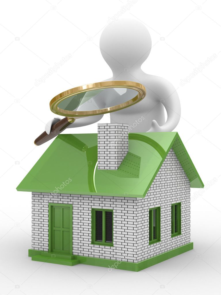 Search new house. Isolated 3D image on white — Stock Photo #1186392