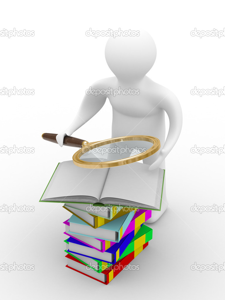 Man reads books. Isolated 3D image on white  Stock Photo #1186577