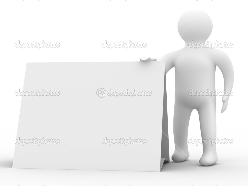 Man holds the poster in a hand. 3D image  Stock Photo #1186752