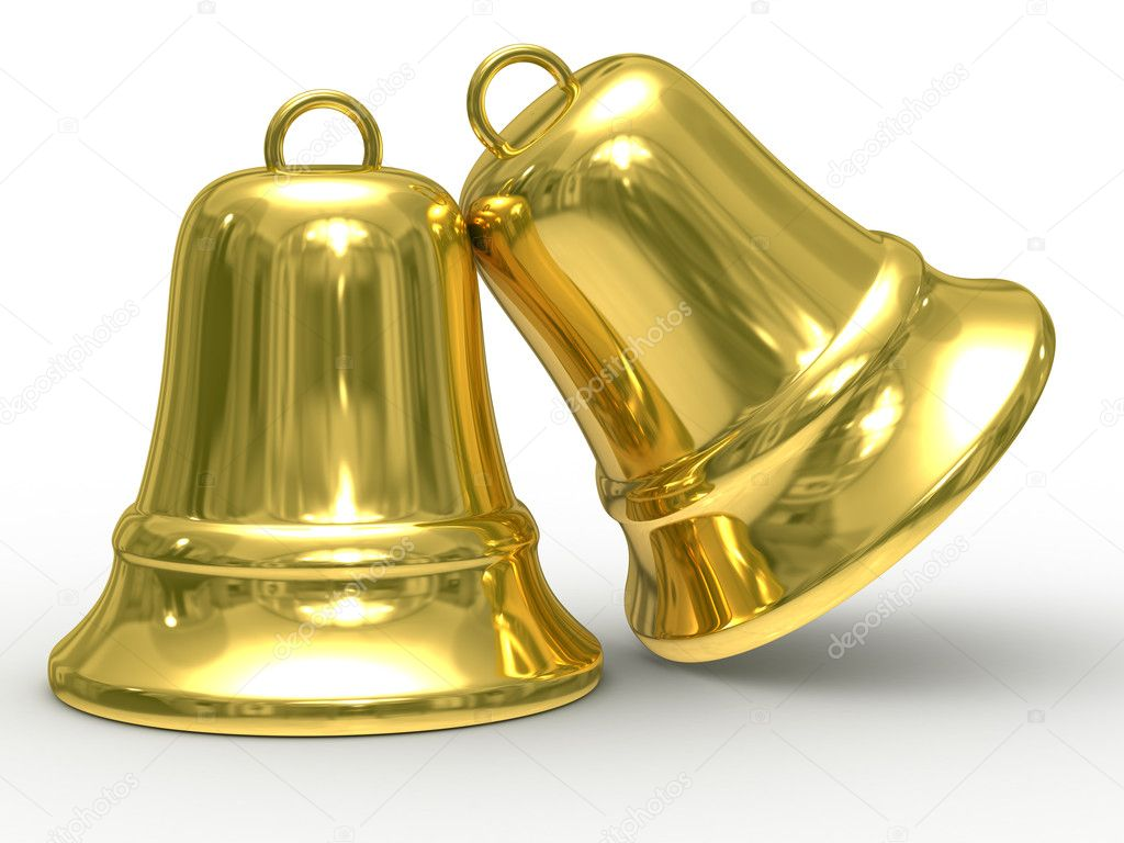 Two gold hand bell on white background. Isolated 3D image.  Stock Photo #1187810