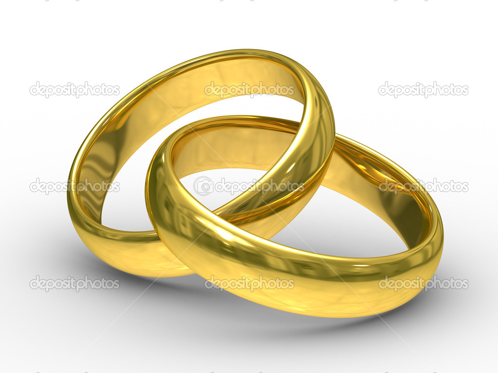 Two gold wedding rings. Isolated 3D  image — Stock Photo #1188067