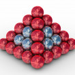 Pyramid from metal spheres — Stock Photo