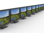 Row TV on white background. Isolated 3D — Stock Photo