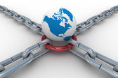 Chain fastened by red ring. Isolated 3D — Stock Photo