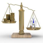 Kasserar och affärsman på vikter. — Stockfoto