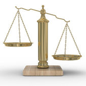 Scales justice on a white background. — Stock Photo
