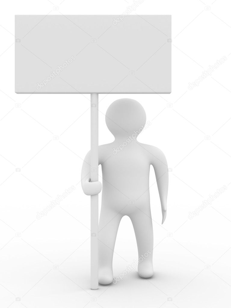 Person hold a banner on white background. 3D image — Stock Photo #1197838