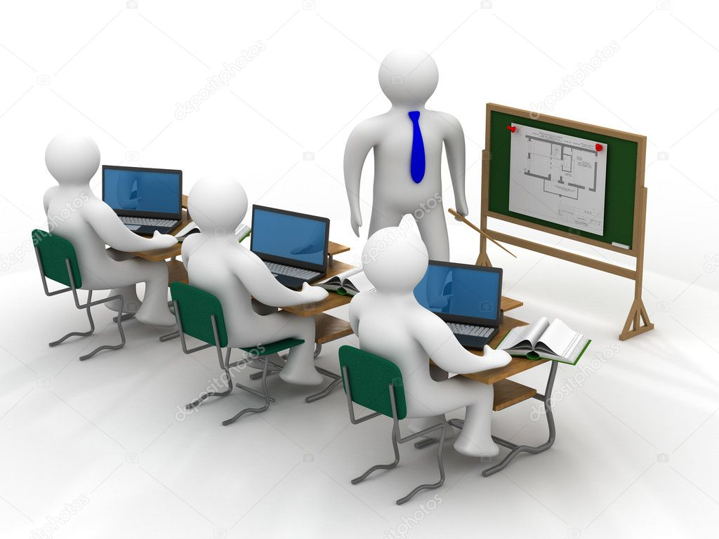 Lesson in a school class. Isolated 3D image.  Stock Photo #1198115