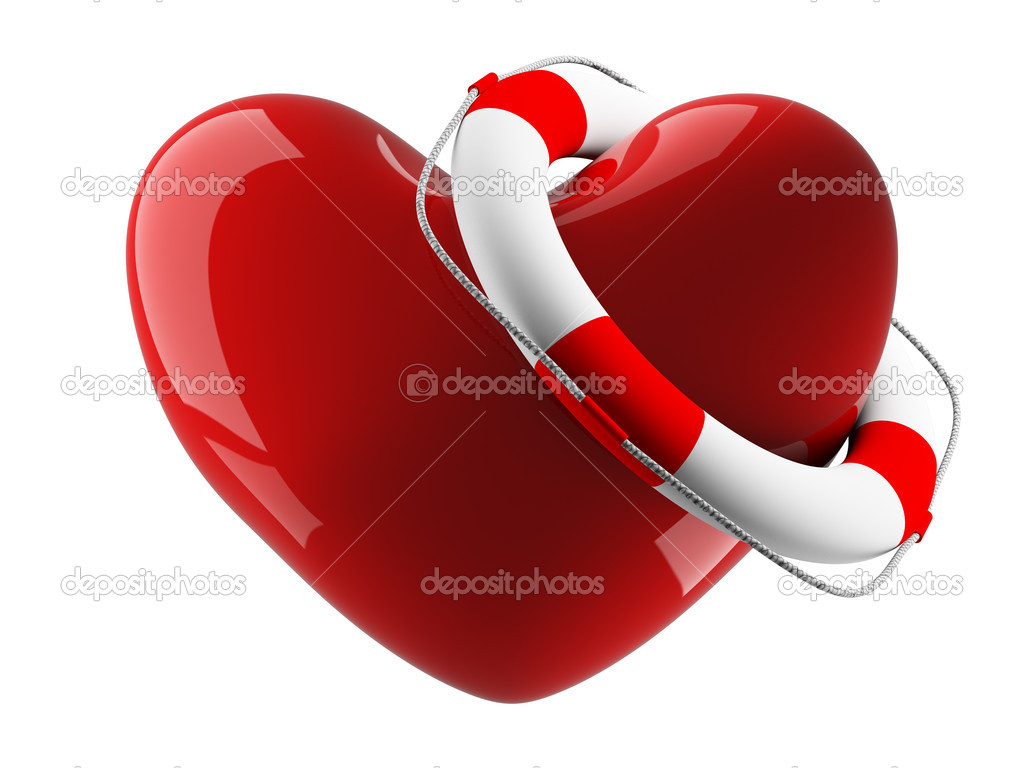 Heart and life buoy on a white background. Isolated 3D image  Stock Photo #1198163