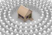Skupina kulatý dřevěný domek — Stock fotografie