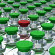 Stock Photo: Green buttons and one red. 3D image