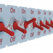 Row red switch on white background. 3D — Foto Stock #1303311