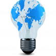 Bulb with world card on a white — Stock Photo #1304665