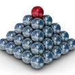 Pyramid from metal spheres on a white — Stock Photo