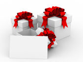 White gift box with a card. 3D image — Stock Photo