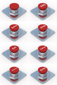 Set red buttons on a white background — 图库照片