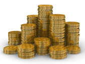 Column of golden coins isolated on white — Stock Photo