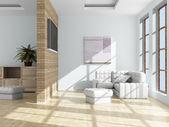 Interno di un salotto. immagine 3d. — Foto Stock