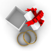 White gift box with rings. 3D image — Stock Photo