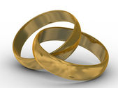 Two gold wedding rings. the 3D image. — Stock fotografie