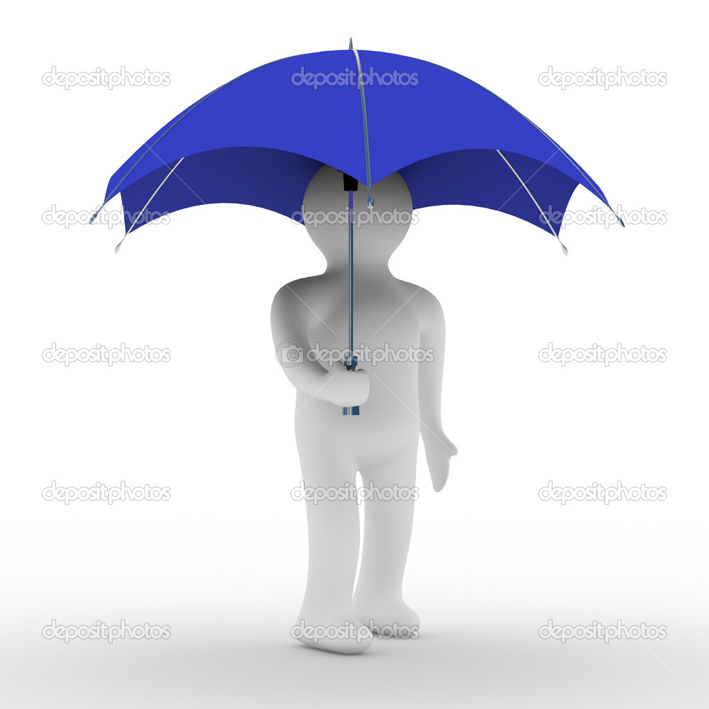 Man under umbrella. Isolated 3D image — Stok fotoğraf #1302341