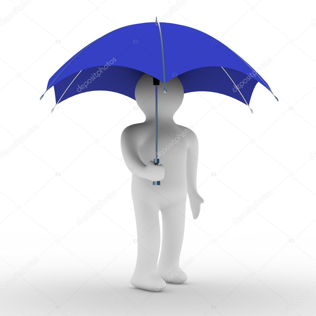 Man under umbrella. Isolated 3D image  Foto de Stock   #1302341