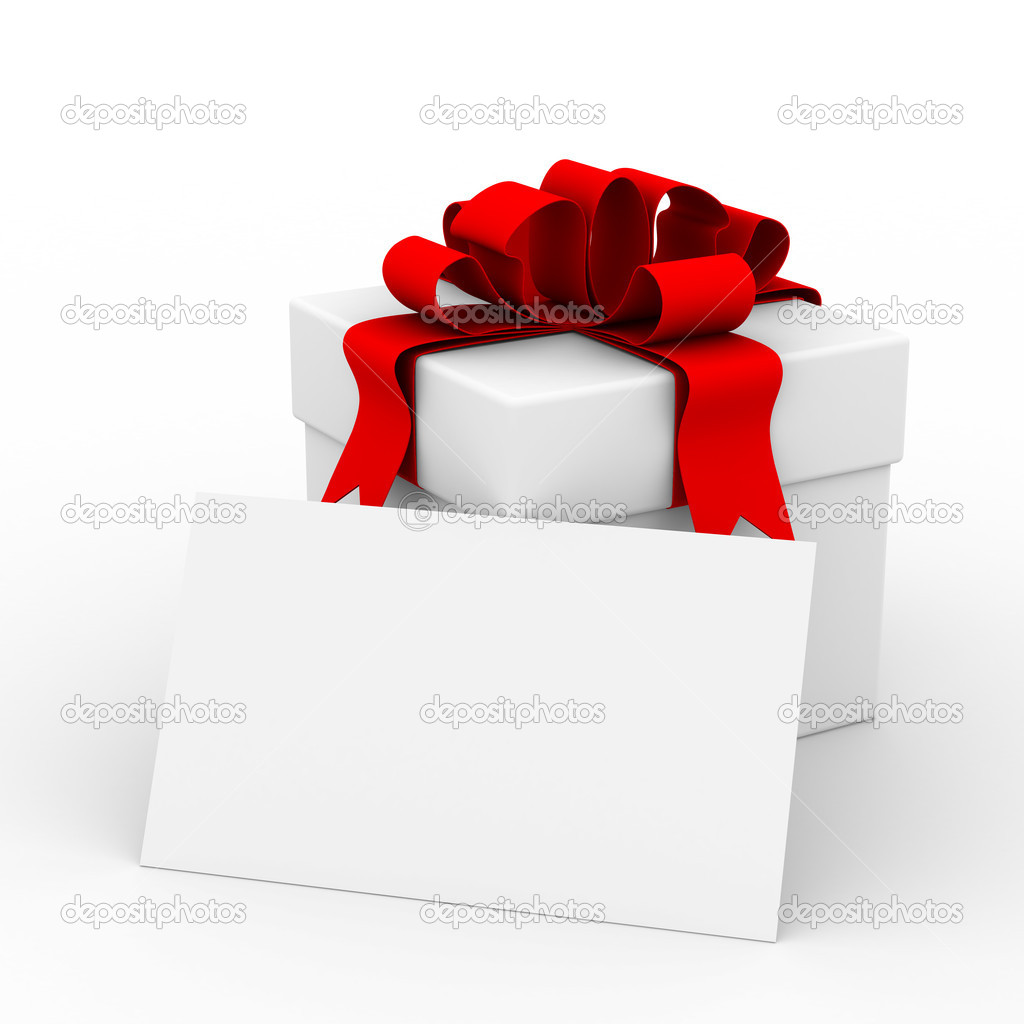 White gift box with a card. 3D image — Foto de Stock   #1303256