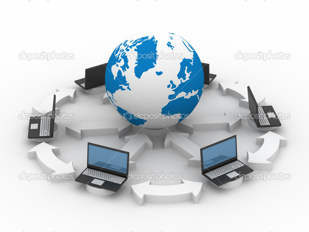 Global network the Internet. Isolated 3D image.  Foto de Stock   #1305600