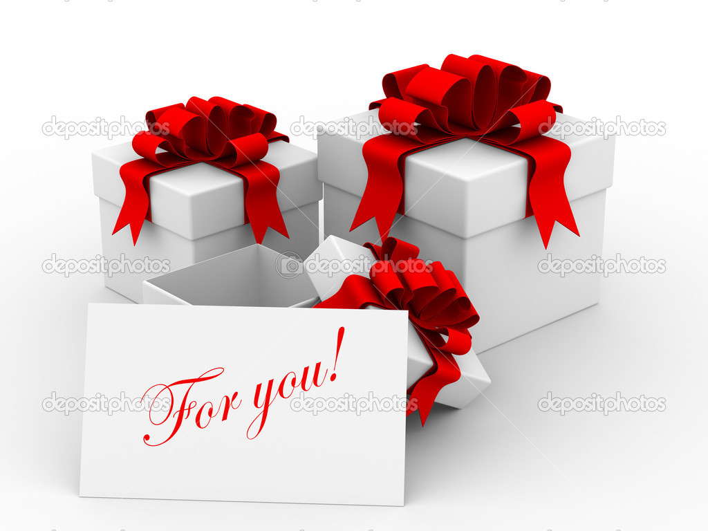 White gift boxs with a card. 3D image — Stock Photo #1305622