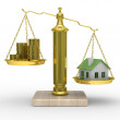 House and cashes on scales — Stock Photo