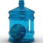 Globe in bottle on white background — Stock Photo