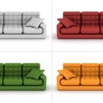 Set leather sofa on a white background — Stock Photo