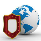 Globe and shield on white background — Stock Photo