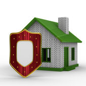 House and shield on white background — Stock Photo