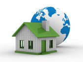 Small house and globe — Stock Photo