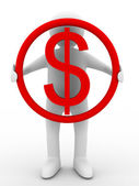 Businessman holds dollar — Stock Photo