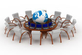 Twelve workplaces behind a round table — Stock Photo