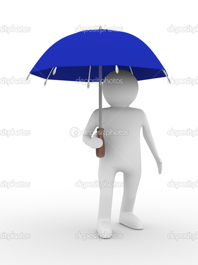 Man with blue umbrella on white background. Isolated 3D image — Stock Photo #1600232