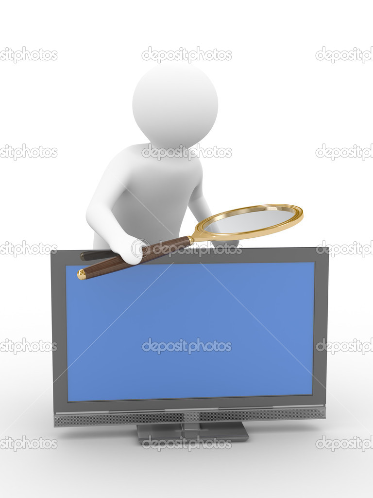 Man with magnifier on white background. Isolated 3D image  Stock Photo #1604383