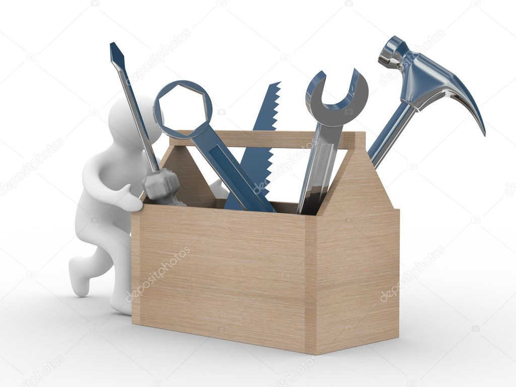 Repairman with the tool on a white background. 3D image — Stock Photo #1609669