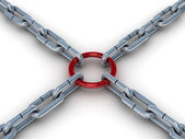Chain fastened by a red ring. 3D image. — Stock Photo